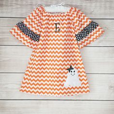 8/26/2013  Orange Chevron Debbie Dress w/ Ghost Applique