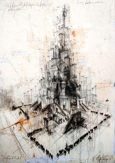 Huérfanos de Babel / mixta sobre lino / 200 x 140 cm / mixta sobre lino / 2013