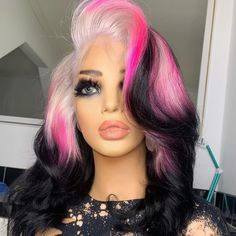 Pretty Hair Color, Beautiful Hair Color, Try On Hairstyles, Pretty Hairstyles, Hairdos, Colorful Lace Front Wigs, Colorful Hair, Creative Hair Color, Hair Styler
