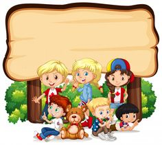 Frame with happy kids around wooden board Kids Awards, Back To School Kids, School Frame, School Murals, School Images, Powerpoint Background Design, Kids Background, Happy Children's Day, School Clipart