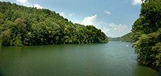 Fontana Lake, Great Smokie Mountains. More than 90 percent of the land around the Lake is owned by either the National Park Service or the US Forest Service.