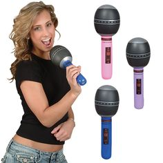 Novelty Inflatable Microphones Just £0.89 - If you're planning a karaoke night or a music themed party then these Inflatable Microphones will go down a treat! They make a snazzy garden or pool toy, and are also suitable as a stage prop in schools or amateur theatre! They feature printed microphone detail throughout including the classic mesh pattern on the top. To blow up the microphone simply inflate via the mouth valve and let the boogie begin!