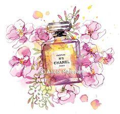 chanel, flowers, and illustration image Chanel Art, Chanel Perfume, Chanel Decor, Beauty Illustration, Botanical Illustration, Bottle Drawing, Harper's Bazaar, Covent Garden, Bottle Art