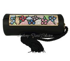 Satin Handbag Evening Bag Purse with Swarovski Crystals ADD04 Black Floral Swarovski Crystal Clutch Purses, Evening Bags, Leather Purses, Je...