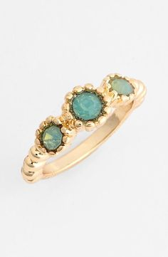 "Mint & Gold ring - Glistening stones nestle in sculpted settings to form a golden ring with added sparkle. 1/8"" band width; 1/4"" stone width. Goldtone plate/glass. By BP.; imported."