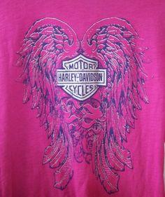 Women-Harley-Davidson-Graphic-Pink-Long-Sleeve-Top-Size-M-Angel-Wings-Kentucky
