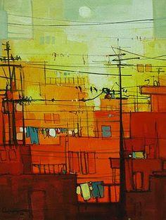 Salman Farooqui Indian Art, Abstract Landscape, Pakistani, Watercolour, Contemporary Art, Buildings, Landscapes, Paintings, Architecture