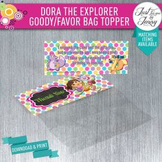 DORA the EXPLORER Party Favor/goody bag topper - Digial download by JustForYouByJenny on Etsy