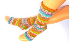 Multicolor yoga socks with heel *Yoga socks Knit boot socks Dance socks Knitted socks Pilates socks Pedicure socks Feet warmers Leg warmers by mittenssocksshop on Etsy