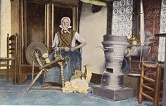 Rijssen, Netherlands, Woman at spinning wheel, old coloured postcard, unposted