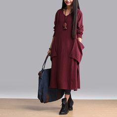 Новый бренд женщин белье хлопка с длинным рукавом макси платье осень искусства…