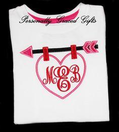 #Valentine #Kids #Fashion Valentine Monogram Heart and Arrow Custom Embroidered Applique Valentine's Day Baby Toddler Kids or Adult Shirt or Bodysuit