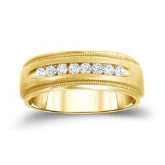 Auriya 14k Yellow 1/2ct TDW Round Diamond Milgrain Channel Band (H-I, SI1-SI2) (Yellow Gold - Size 8), Women's