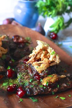 Grilled Skirt Steak with Roasted Cherries