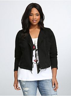 Slightly distressed black denim makes for an on-trend vintage-inspired feel, while hematite zippers and a moto collar give it all the toughness you need to ride off in the sunset. Cropped cut makes for a flattering fit, back cage seams keep you in frame.