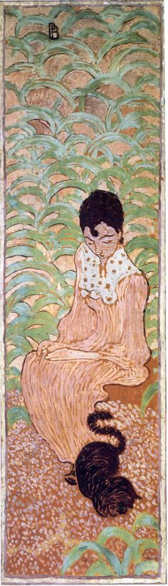 Sitting Woman with a Cat - Pierre Bonnard  Always think about the negative space....not Judy drippy watercolor. PAINT IT!
