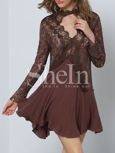 Brown+Long+Sleeve+Appliques+Panelled+With+Lace+Dress+20.89
