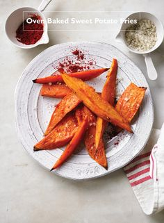 Oven Baked Sweet Potato Fries       Paprika and garlic make these easy baked sweet potato fries burst with flavor!