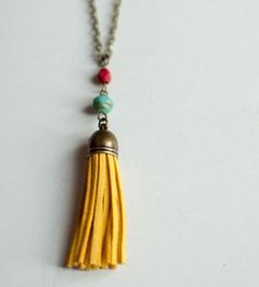 Suede Tassel Necklace   Jewelry Necklaces   Gleeful Peacock   Scoutmob Shoppe   Product Detail