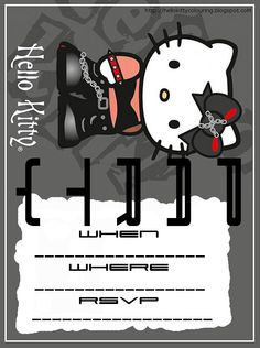 Free printable Hello Kitty party invitation - they type where you fill in the blanks. Party Printables, Free Printables, Hello Kitty Colouring Pages, Cat Party, Party Invitations, Invites, Love Is Free, Free Prints, Recipe Cards