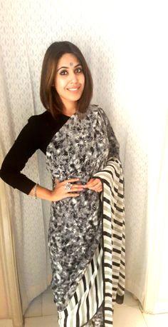 Pattern clash! Flowy georgette sari. Super comfort super stylish