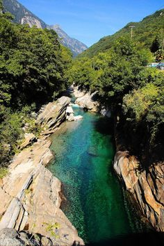 Crystal Clear Waters off Verzasca River Swiss Alps