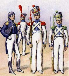 Duchy of Warsaw; Line Infantry Regiment From left to right: a Junior Officer, Officer of Grenadiers (in the background), Grenadier & Voltigeur. Empire, Poland History, Troops, Soldiers, French Revolution, Napoleonic Wars, Warsaw, Army, Military