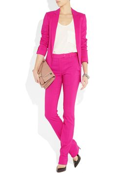 OMG. I die. I absolutely MUST have this hot pink suit by Preen. Worn has separates or together it is fantastic!!