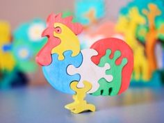 Wooden Cock Puzzle, Child's Puzzle, Kid's wood Toys. Wooden toys, wooden animal puzzle. eco-friendly handmade toys, children. $10.00, via Etsy.
