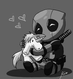Chibi Deadpool + unicorn ♡♡♡ °° greyscale ...