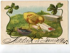 An Easter Greeting Chick writing postcards by sharonfostervintage