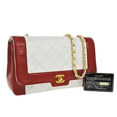 Auth-CHANEL-Quilted-CC-Logos-Chain-Shoulder-Bag-Bi-Color-Red-Leather-VTG-AK03477