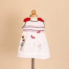 Jayden & Co White Rabbit Butterfly Embroidery Ribbon Baby Dress [Mix 3 For RM 100]