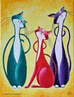 Original Cat Painting for Sale Fantasy Cats by NaturelandsAndCo
