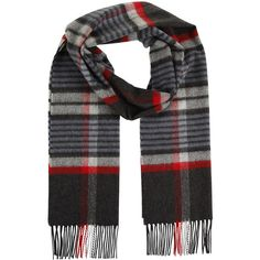 Johnstons of Elgin Cashmere & Merino Blend Scarf in Stripe Check -... (4,205 INR) ❤ liked on Polyvore featuring accessories, scarves, multi, blue shawl, blue scarves, johnstons of elgin, red cashmere shawl and red shawl