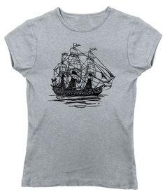 Women's Vintage Pirate Ship T-Shirt - Juniors Fit