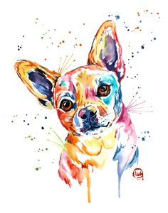 East Urban Home 'Chihuahua' by Lisa Whitehouse Framed Graphic Art Size: H x W x D, Frame Color: White Watercolor Portraits, Watercolor Paintings, Painting Art, Chihuahua Art, Animal Art Prints, Arte Pop, Colorful Paintings, Animal Paintings, Dog Art