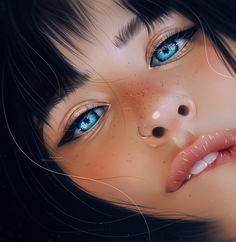 Digital Art Girl, Digital Portrait, Portrait Art, Blue Drawings, Barbie Doll Set, Colour Pallette, Illustrators On Instagram, Illustration Girl, Eye Art