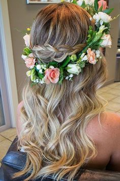 Boho beach wedding hair inspiration. Love the floral crown