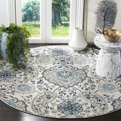 Shop for Safavieh Madison Belle Paisley Boho Glam Cream/ Light Grey Rug - x Round. Get free delivery at Overstock - Your Online Home Decor Store! Get in rewards with Club O! Grey Rugs, Paisley Rug, Light Grey, Light Grey Rug, Transitional Carpet, Transitional Home Decor, Beautiful Rug, Colorful Rugs, Round Area Rugs