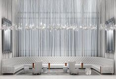 Timorous Beasties Silver Birch lace drapes commissioned by yoo for Barkli Park, Moscow