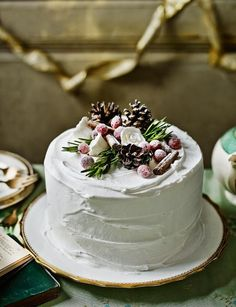Decoration idea: Alpine cake If you've made our Christmas Cake we've got some great ideas on how to decorate! This Alpine cake decoration is sure to be the centerpiece of any dinning table. Christmas Cake Designs, Christmas Cake Decorations, Christmas Desserts, Christmas Treats, Christmas Cakes, Table Decorations, Pretty Cakes, Beautiful Cakes, Bolo Nacked