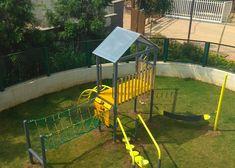 Divyasree 77 degree place - #MultiPlaySystem  Featuring the following: #Treehouse #FiremanPole #RopeLadder #KnottedRope #BurmaBridge #ArchedLadder #StandingSeeSaw #MiniClimbingWall #SwingBoard  #FeetOffGround #UnstructuredPlay #BridgesForPlay Outdoor Fitness Equipment, No Equipment Workout, Climbing Wall, Rock Climbing, Children's Playground Equipment, Rope Ladder, Ropes Course, Outdoor Workouts, Treehouse