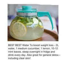 Diet Plan To Lose Weight : Illustration Description Sassy Water To boost weight loss – water, 1 medium cucumber, 1 lemon, mint leaves. steep overnight in fridge and drink every day. Also great for general detox–including clear skin! -Read More – Healthy Drinks, Get Healthy, Healthy Tips, Healthy Choices, Healthy Snacks, Healthy Recipes, Diet Snacks, Healthy Water, Healthy Weight