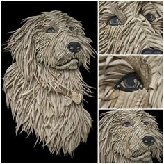 Dog Portrait from Corrugated Cardboard by Ali Golzad A dog portrait made from corrugated cardboard by Iranian Artist Ali Golzad. Ali uses discarded cardboard to create eye catching pieces that are. Cardboard Relief, Cardboard Mask, Cardboard Sculpture, Cardboard Crafts, Sculpture Art, Cardboard Playhouse, Cardboard Furniture, Recycled Art, Dog Portraits