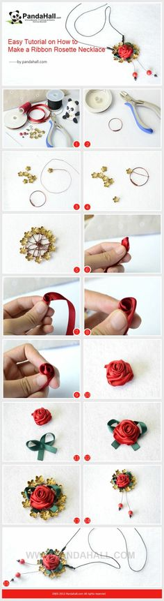 Easy Tutorial on How to Make a Ribbon Rosette ...   Jewelry Making Tu�� by wanting
