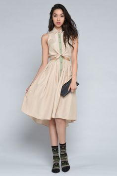 Silk Cutout Waist Midi Length Dress by Samantha Pleet