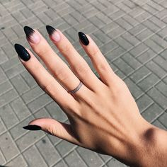Almond nails for winter; ho… Almond nails for winter; ho…,Nails Almond nails for winter; Almond Nail Art, Almond Shape Nails, Black Nail Art, Black Nails, Black Almond Nails, Fall Almond Nails, Black Manicure, Black Acrylic Nails, Trendy Nails