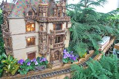 American Gilded Age era socialites: William K. Vanderbilt, and wife, Alva Vanderbilt. A miniature model of their French Chateau style mansion, (built, c.1882 - demolished, c.1926). It was located at: 660 Fifth Ave, in NYC. ~ On display at the NY Botanical Garden. Decorated with African violets, a Norfolk pine, and additional greenery, for Christmas. ~ {cwlyons} ~ (Image: flickr - Photographer, Michael)