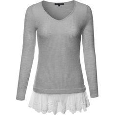 bf0decba094ee9 Simple Every Day Boho Knitted Sweater with Lace Trim Gray S Size at.